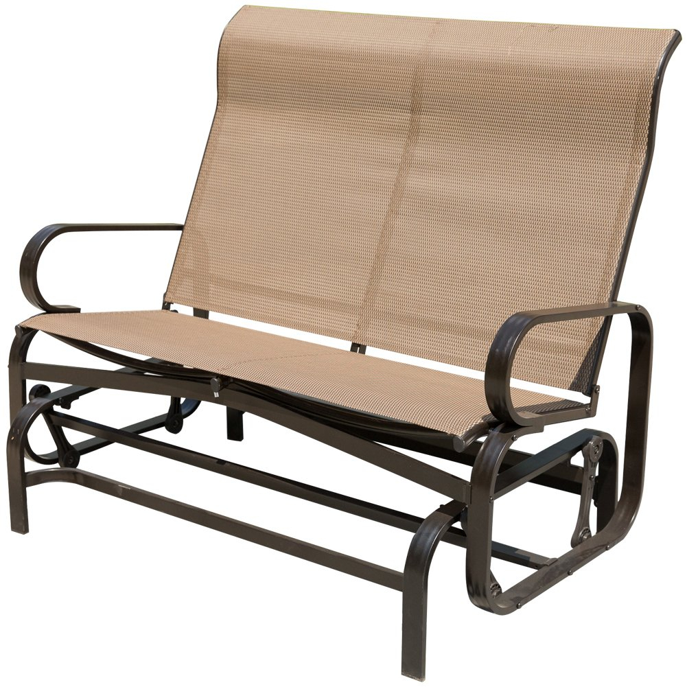Patiopost Glider Bench Chair Outdoor 2 Person Loveseat Chair Patio Porch Swing With Rocker, Mocha – Walmart For 2 Person Loveseat Chair Patio Porch Swings With Rocker (View 12 of 25)