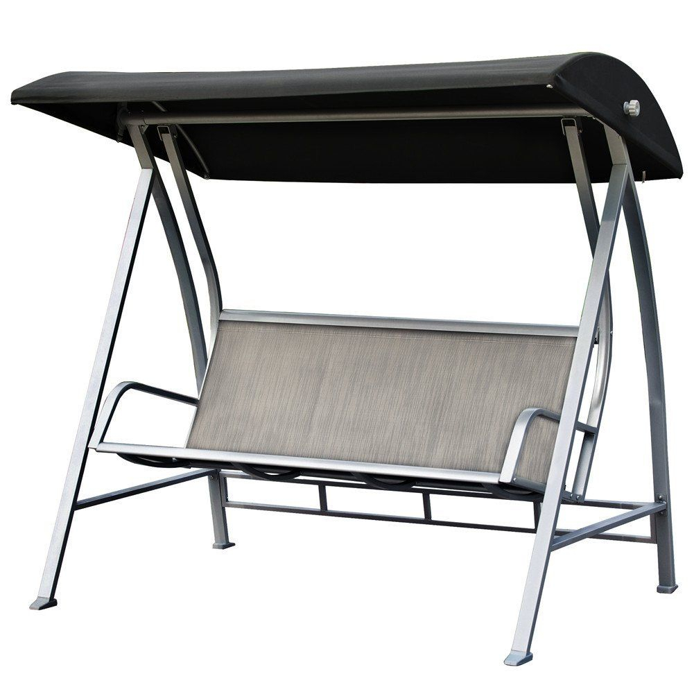 Patiopost Outdoor Swing Canopy Sling Chair 3 Padded Seats Inside Outdoor Pvc Coated Polyester Porch Swings With Stand (View 14 of 25)