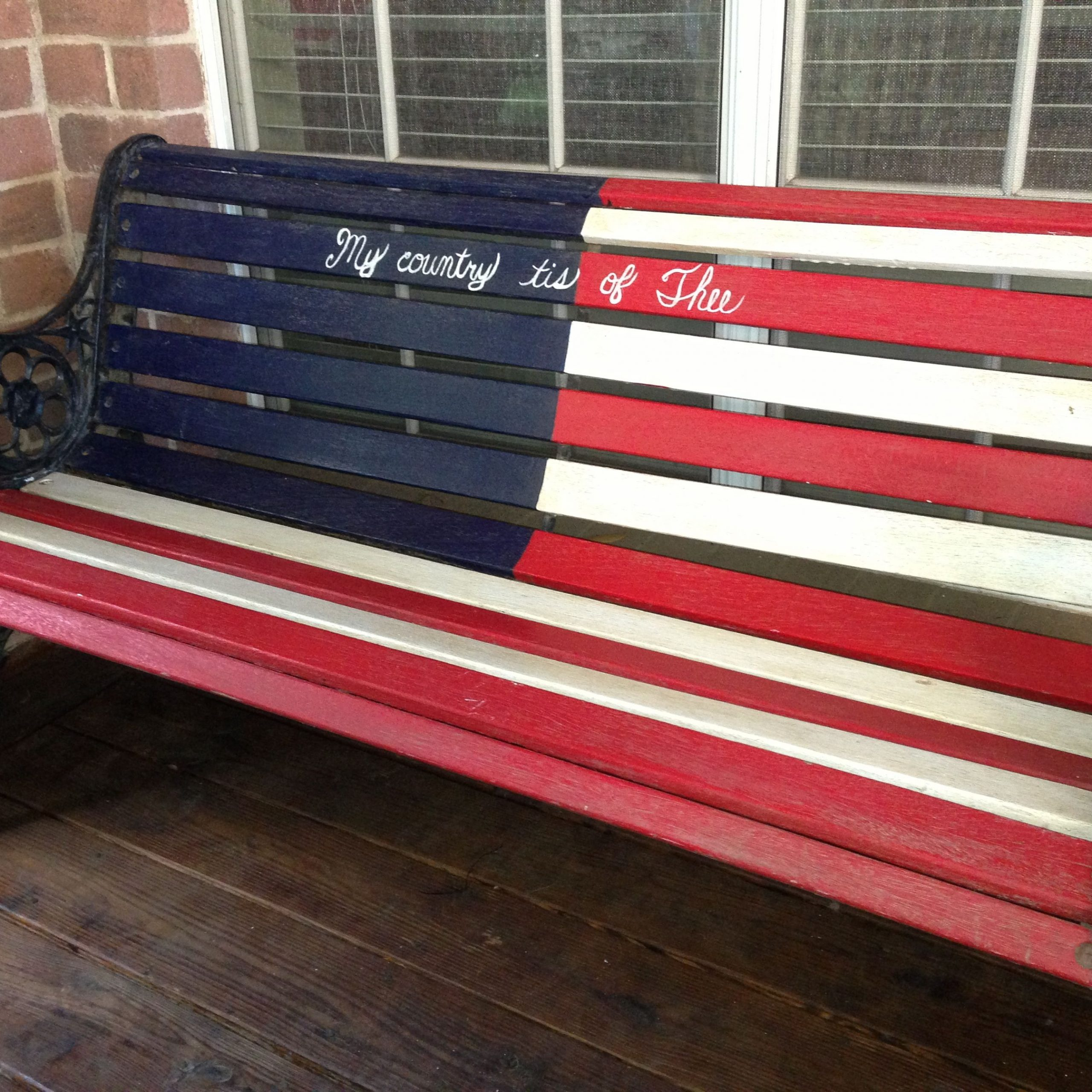 """Patriotic Rustic American Flag Wood Bench! """"my Country 'tis Pertaining To American Flag Porch Swings (View 16 of 25)"""