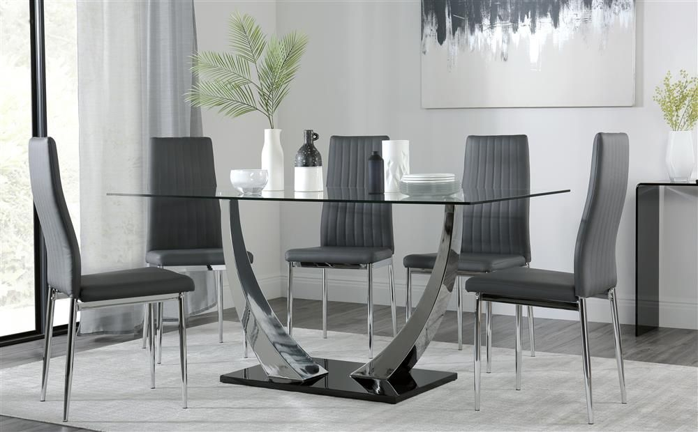 Peake Glass And Chrome Dining Table (Black Gloss Base) With With Regard To Chrome Contemporary Square Casual Dining Tables (View 3 of 25)