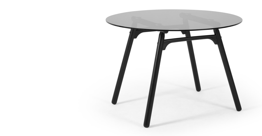 Philly 4 Seat Glass Top Dining Table, Black And Smoked Glass Inside Smoked Oval Glasstop Dining Tables (View 4 of 25)