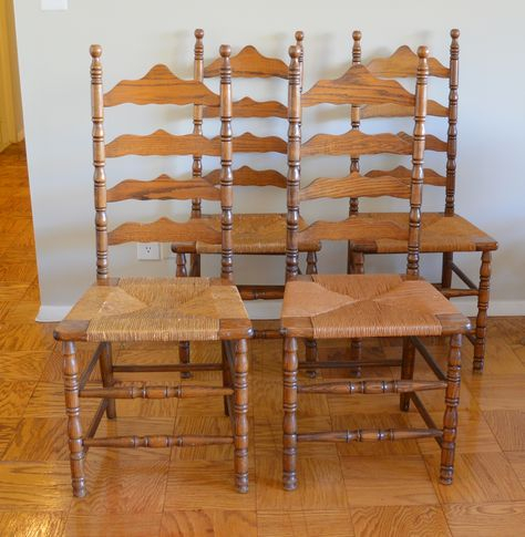 Picked Up These 4 Vintage Ladder Back Chairsthe Boling Throughout Alamo Transitional 4 Seating Double Drop Leaf Round Casual Dining Tables (View 23 of 25)
