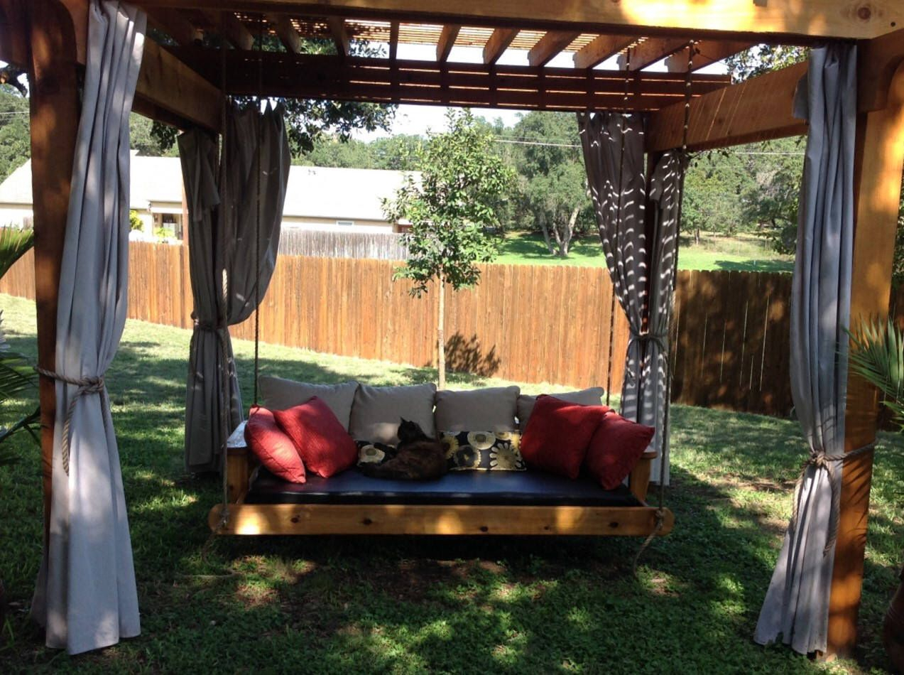 Pinheather On Front Porch Decor In 2019 | Porch Bed Throughout Country Style Hanging Daybed Swings (View 24 of 25)