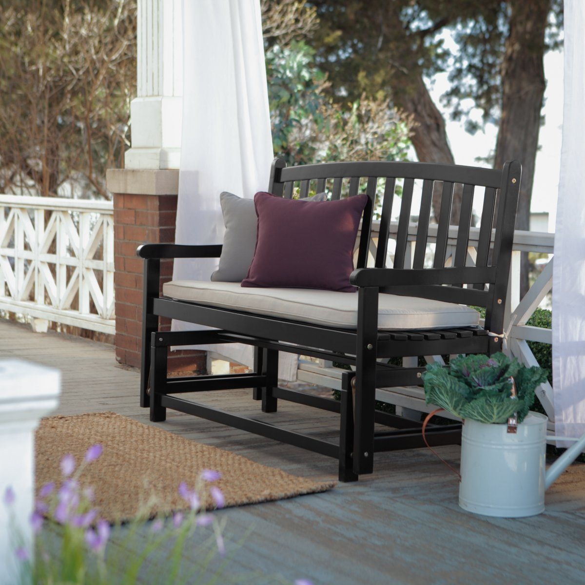 Pleasant Bay Glider Bench – Black – Outdoor Gliders At Porch With Black Outdoor Durable Steel Frame Patio Swing Glider Bench Chairs (Image 20 of 25)