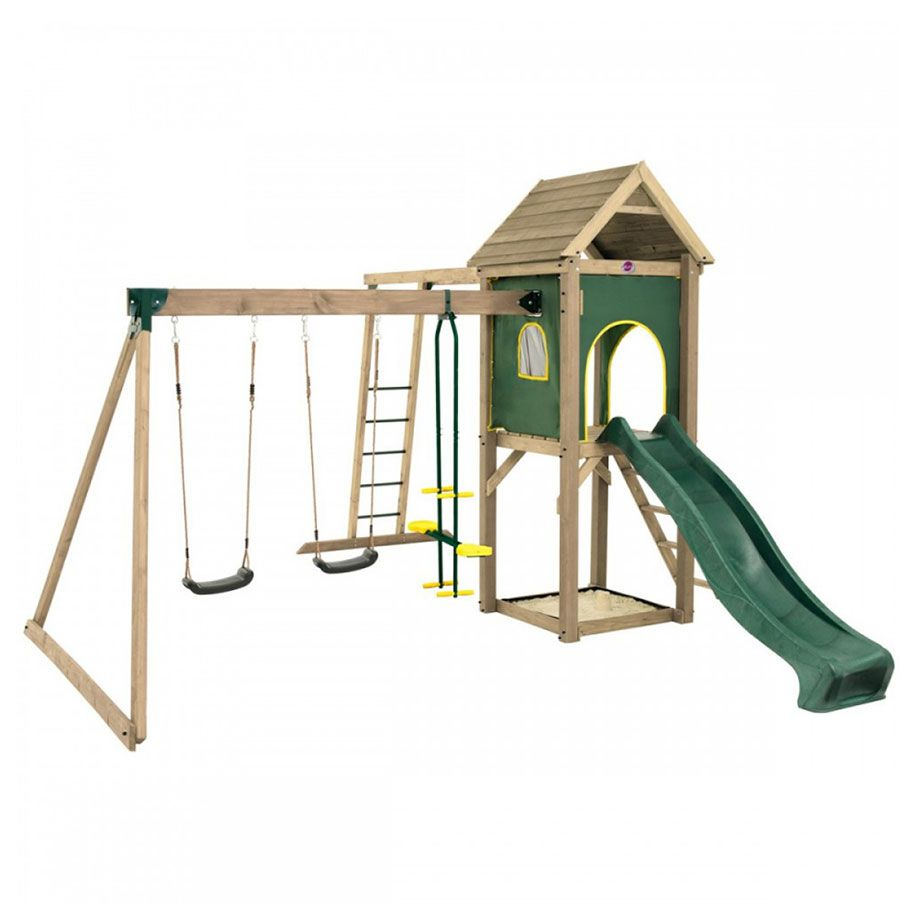 Plum® Kudu Wooden Climbing Frame Outdoor Play Centre With Double Swing, Slide, Sand Pit & Monkey Bars Within Dual Rider Glider Swings With Soft Touch Rope (View 17 of 25)