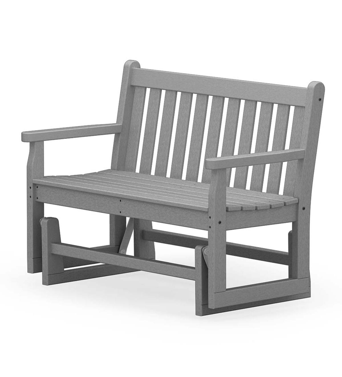 Polywood Outdoor Glider Bench – Gray | Plowhearth Within Indoor/outdoor Double Glider Benches (View 13 of 25)