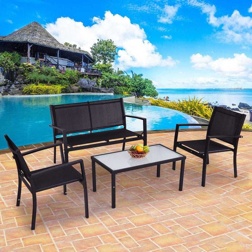 Poolside Outdoor Patio Furniture Set Garden Yard Glass Table Intended For Speckled Glider Benches (View 17 of 25)