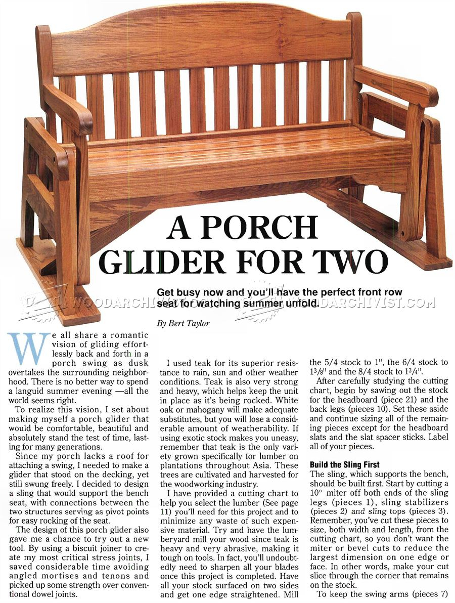 Porch Glider Plans • Woodarchivist With Hardwood Porch Glider Benches (View 23 of 25)