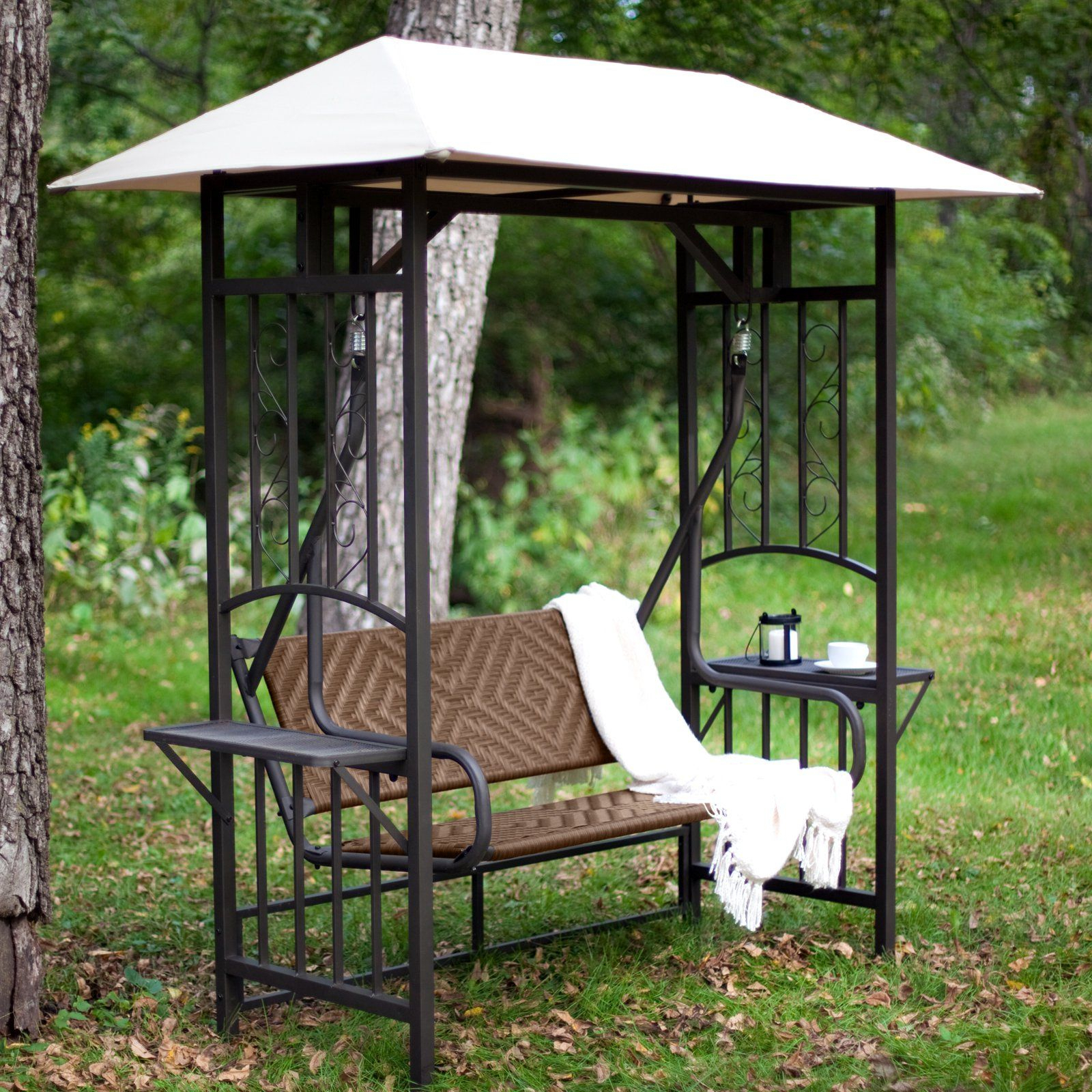 Porch Swing: Bellora 2 Person Gazebo Swing – Natural Pertaining To 2 Person Antique Black Iron Outdoor Gliders (Image 24 of 25)