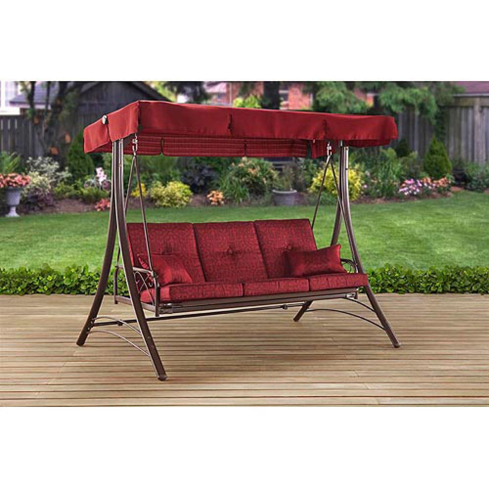 Porch Swing Cushioned 3 Seat Hanging Chair With Canopy Patio Intended For 3 Person Red With Brown Powder Coated Frame Steel Outdoor Swings (View 4 of 25)