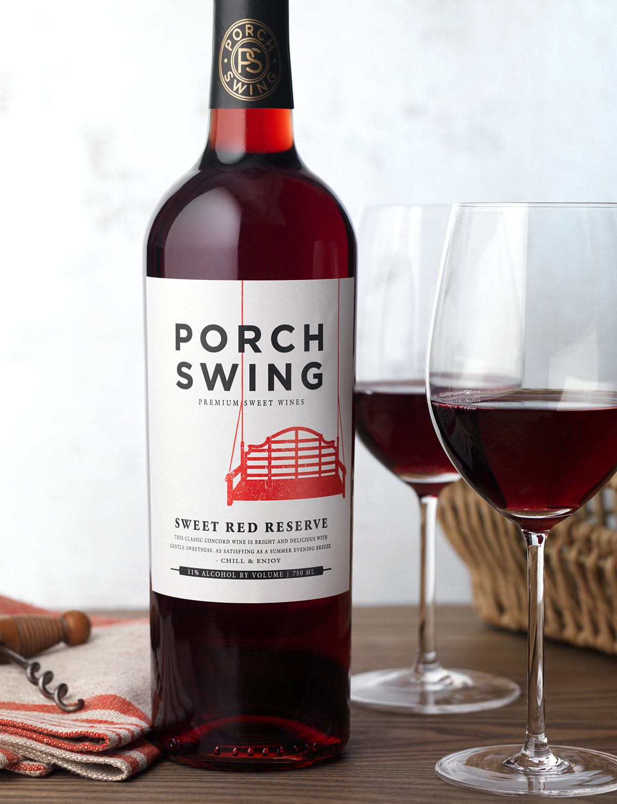 Porch Swing (Oliver Winery) Wine Packaging/logo Design On Pertaining To Vineyard Porch Swings (Image 19 of 25)