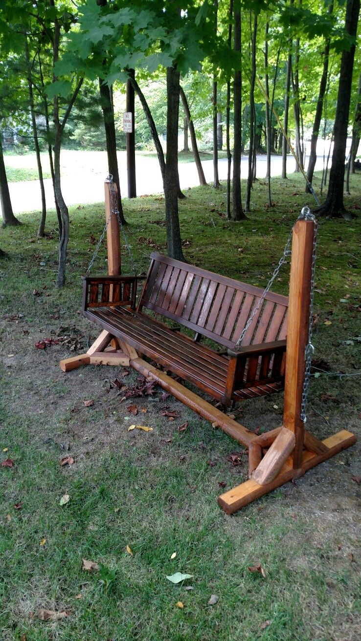 Porch Swing Stand | Home Stuff | Porch Swing, Swinging Chair Intended For Hardwood Hanging Porch Swings With Stand (View 19 of 25)