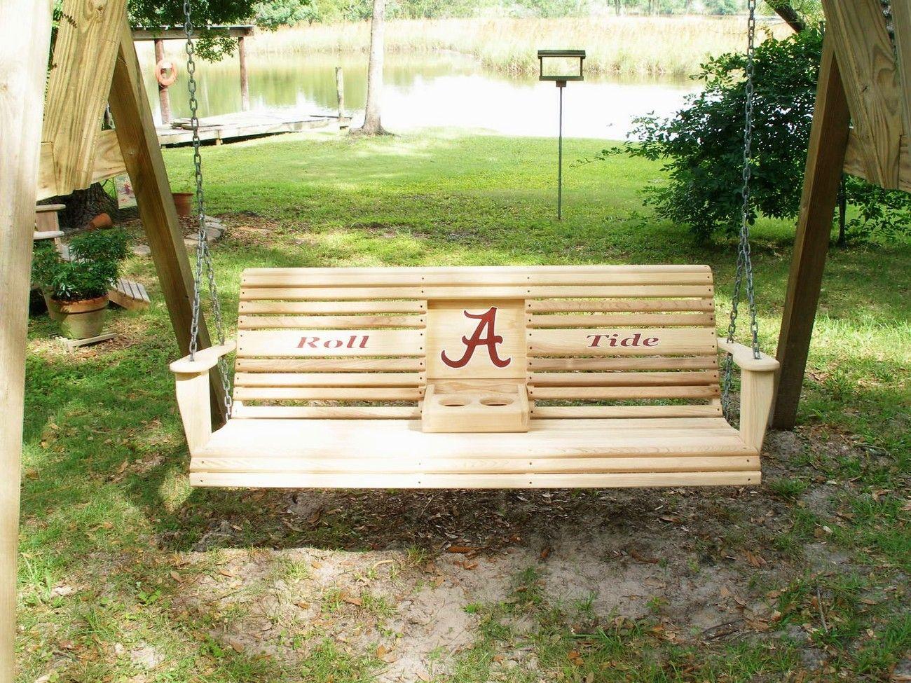 Porch Swings   Alabama Crimson Tide Porch Swing! – Swings Inside Plain Porch Swings (View 16 of 25)