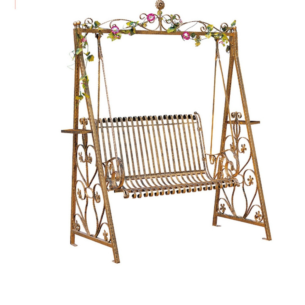 Porch Swings Double Rocking Chair, Wrought Iron Hanging Pertaining To Rosean Porch Swings (View 14 of 25)
