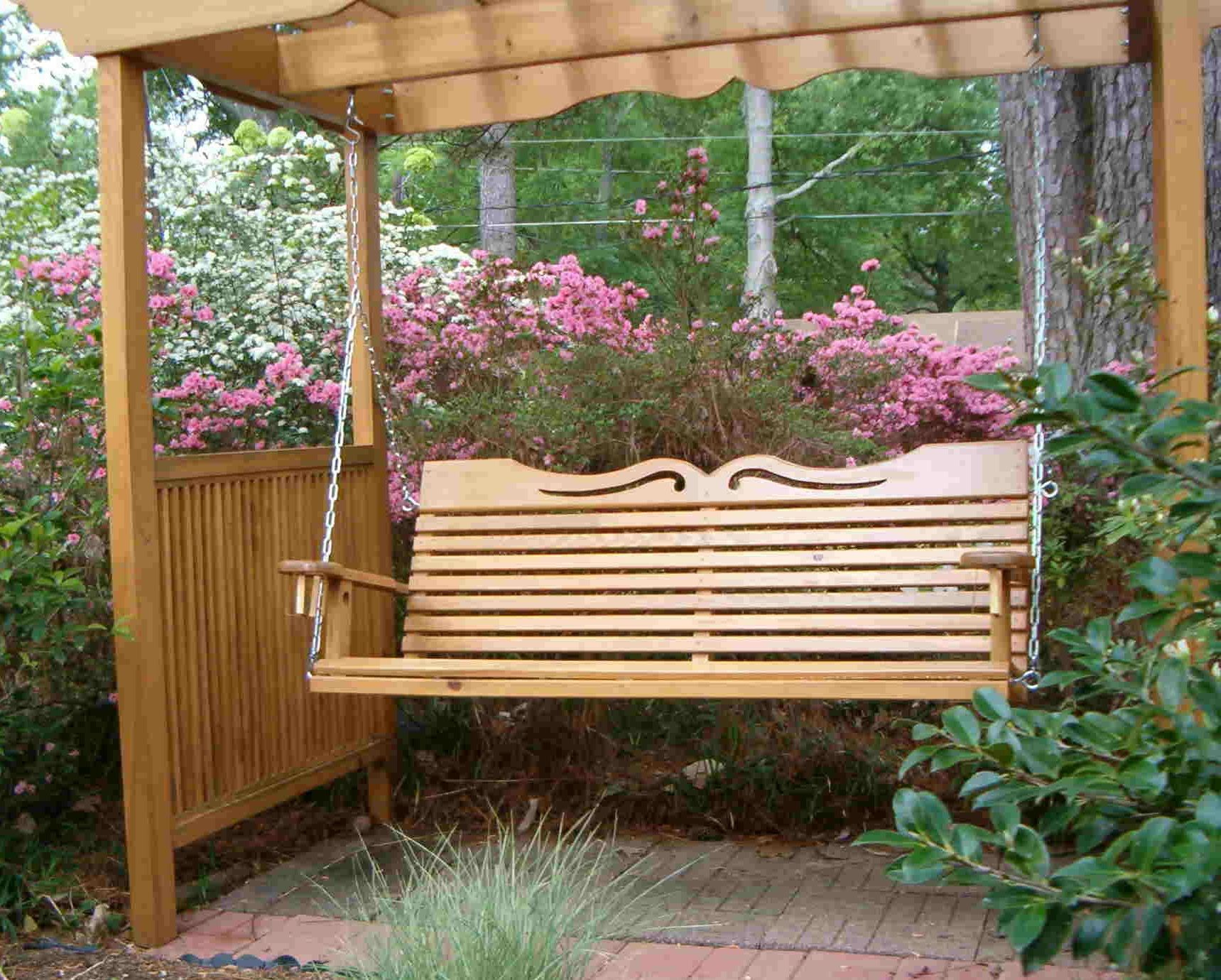 Porch Swings For Your Comfy Outdoor Furniture Ideas: Porch With A4 Ft Cedar Pergola Swings (Image 23 of 25)