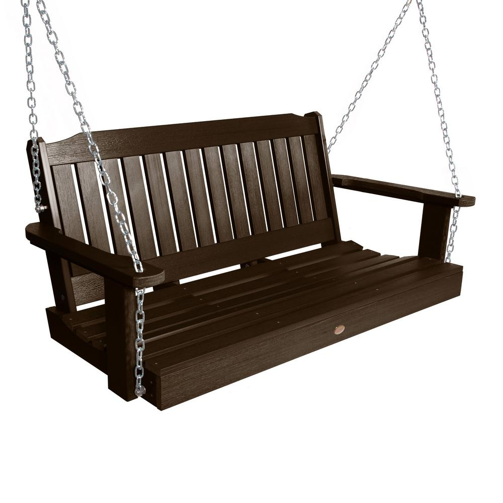 Porch Swings – Patio Chairs – The Home Depot Within 2 Person Black Wood Outdoor Swings (View 8 of 25)