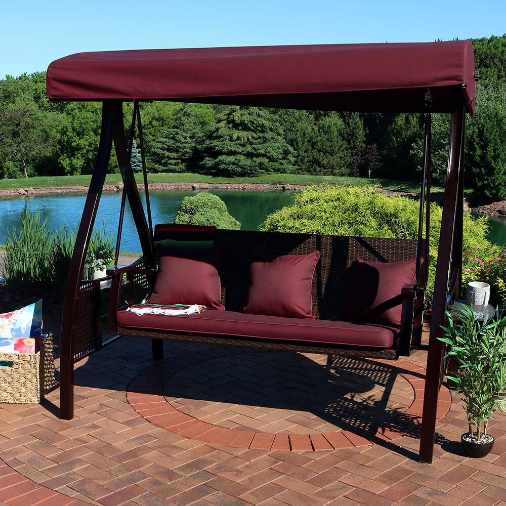 Porch Swings You'll Love In 2020   Wayfair Regarding Canopy Patio Porch Swings With Pillows And Cup Holders (View 4 of 25)