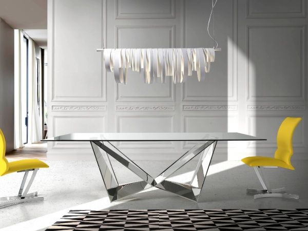 Porto Lujo Modern Rectangular Glass Dining Table With Pertaining To Contemporary Rectangular Dining Tables (View 9 of 25)