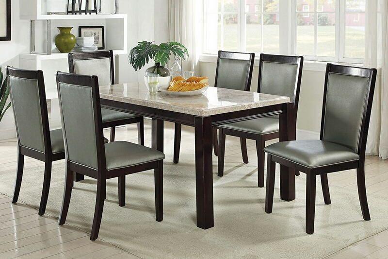 Poundex F2462 1761 7 Pc Marleen Ii Espresso Finish Wood Within Espresso Finish Wood Classic Design Dining Tables (Image 18 of 25)