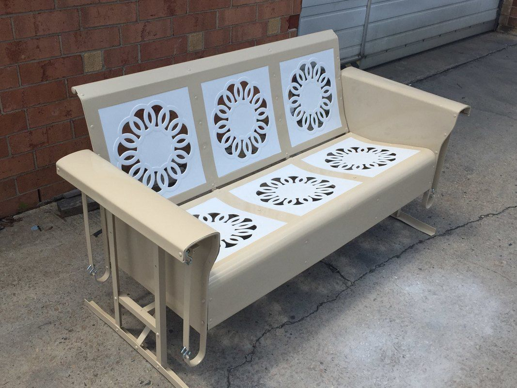 Powdercoated Restored Vintage Metal Patio Gliders – Vintage Intended For Metal Retro Glider Benches (Image 10 of 25)