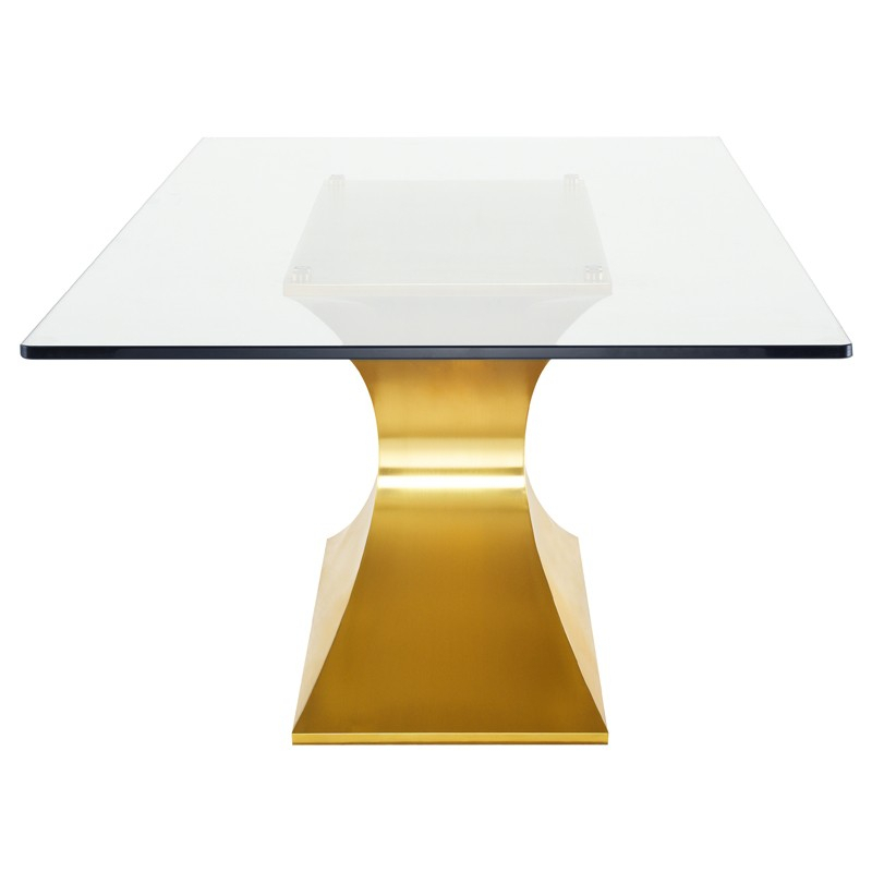 Praetorian – Nuevo Inside Dining Tables With Brushed Gold Stainless Finish (Image 22 of 25)