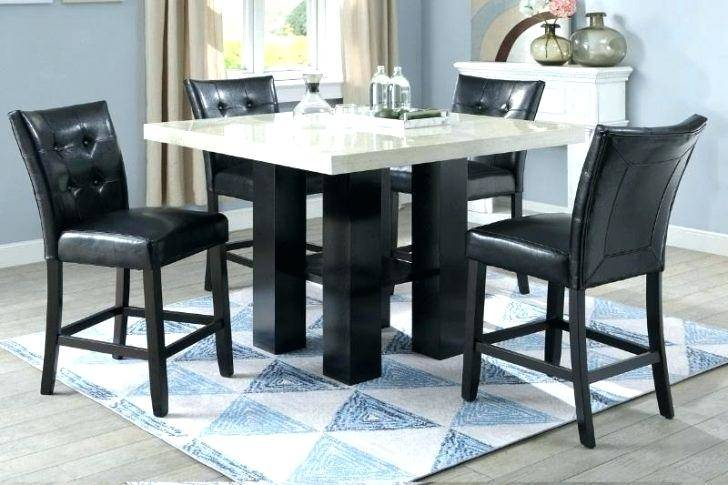 Pretty Black Marble Top Counter Height Dining Set Kitchen Intended For Faux Marble Finish Metal Contemporary Dining Tables (View 15 of 25)
