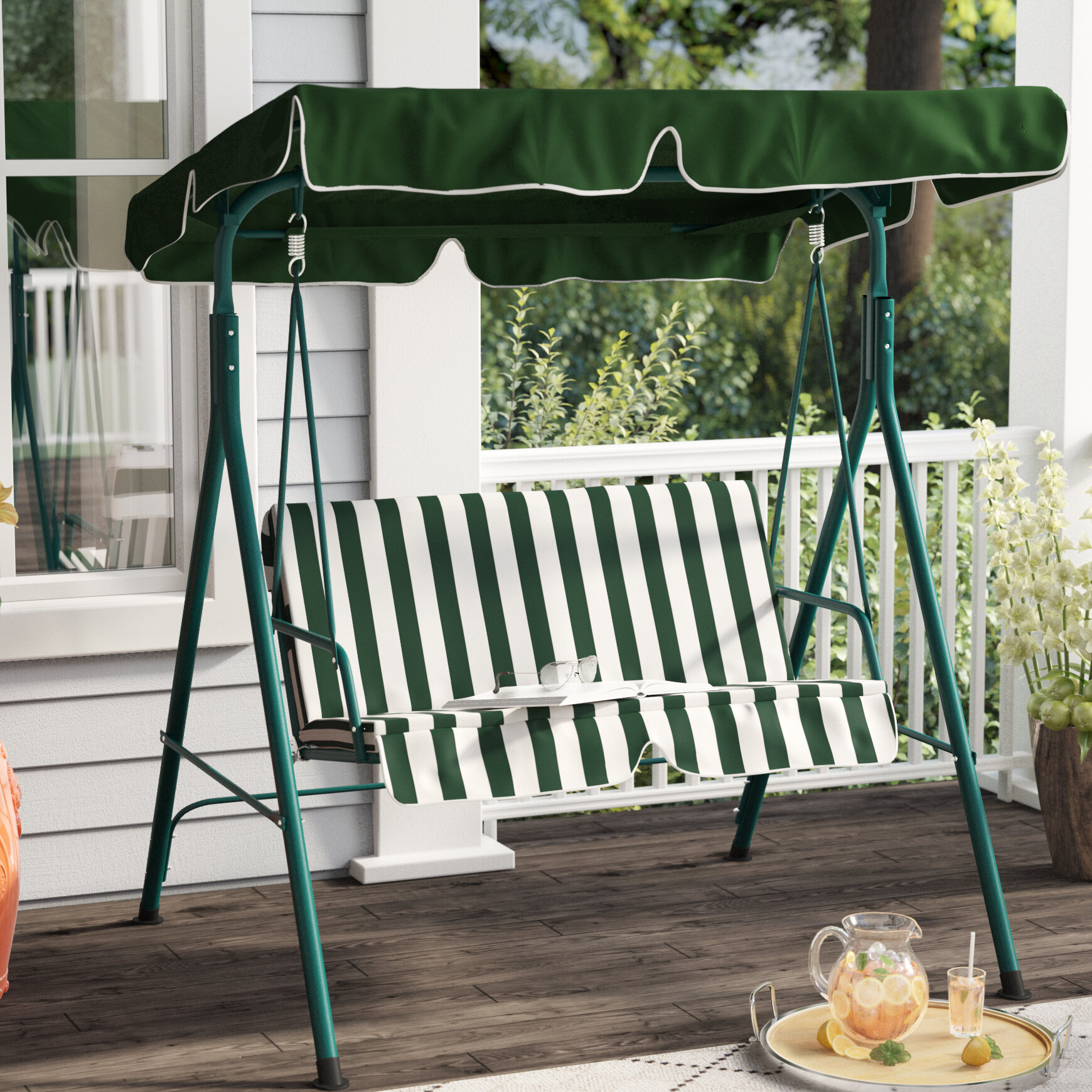 Proothi Patio Loveseat Canopy Hammock Porch Swing With Stand With Regard To Patio Loveseat Canopy Hammock Porch Swings With Stand (Image 24 of 25)