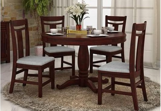 Pune | Wooden Dining Table Set, 4 Seater Dining Table Within Transitional 4 Seating Square Casual Dining Tables (View 7 of 25)