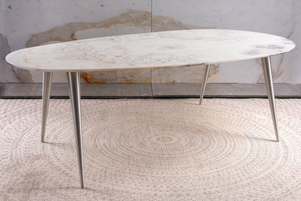 Pure Natural Design – Dining Table, Center Table & Side With Dining Tables With Brushed Stainless Steel Frame (View 9 of 25)