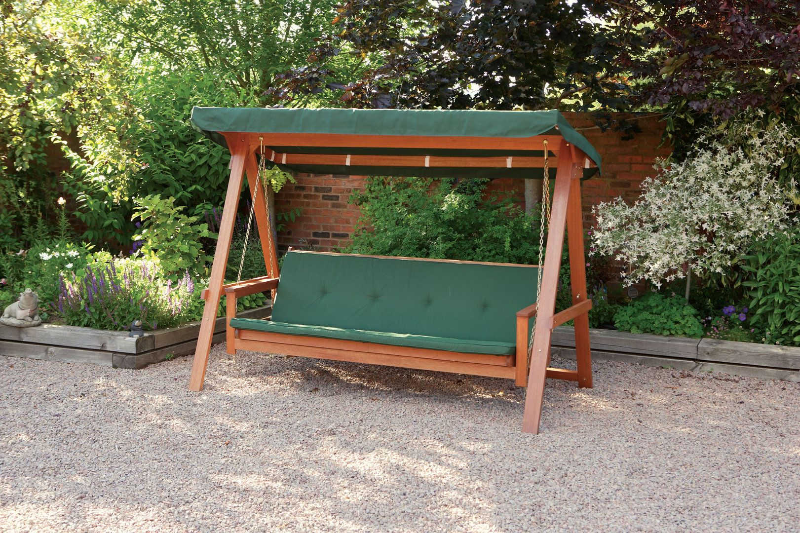 Quality Wooden Swing Bed 3 Seater Garden Swing Seat With For 3 Seater Swings With Frame And Canopy (Image 21 of 25)