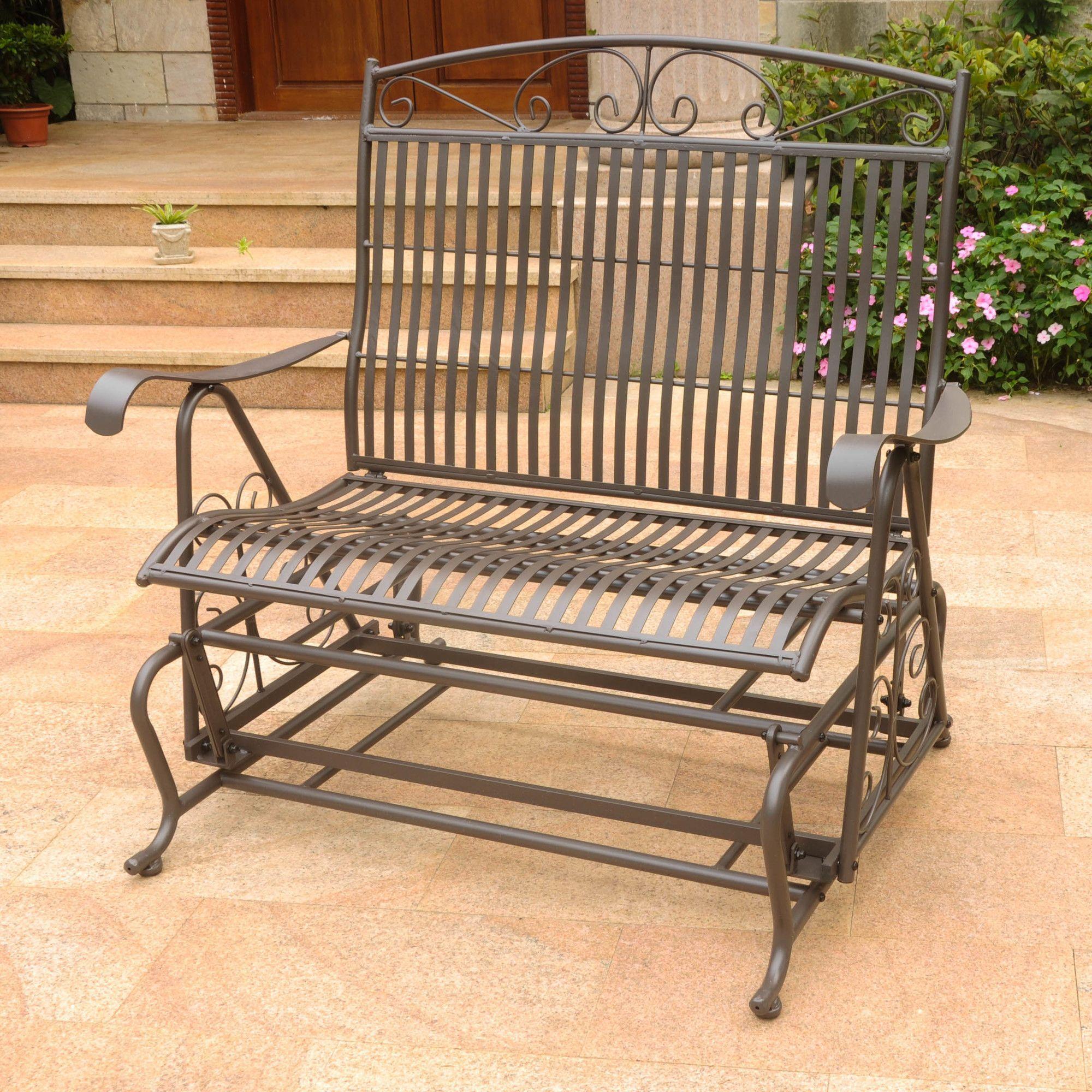Rajesh Rocking Chair | Patio Glider, Outdoor Glider, Glider With Regard To 2 Person Antique Black Iron Outdoor Gliders (Image 25 of 25)