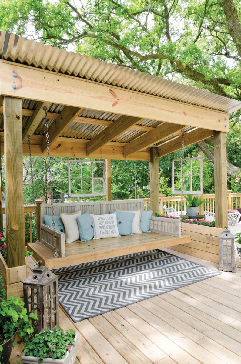 Ranch Style Revival | Backyard Seating, Backyard, Backyard Patio Pertaining To Patio Gazebo Porch Swings (View 5 of 25)