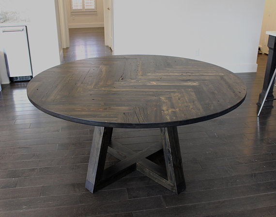 Reclaimed Circle Herringbone Dining Table — Double With Dining Tables With Stained Ash Walnut (Image 22 of 25)
