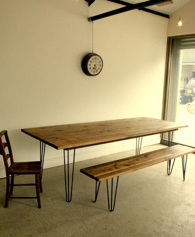 Reclaimed Oak Dining Table With Eames Style Hairpin Legs In Eames Style Dining Tables With Wooden Legs (View 15 of 25)