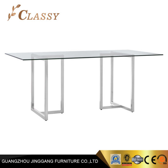 Rectangle Dining Table In Silver Stainless Steel Tempering Glass Top For Steel And Glass Rectangle Dining Tables (View 9 of 25)