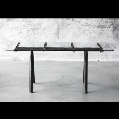 Rectangular Dining Table With Steel Legs In Vintage Finish Throughout Steel And Glass Rectangle Dining Tables (View 2 of 25)