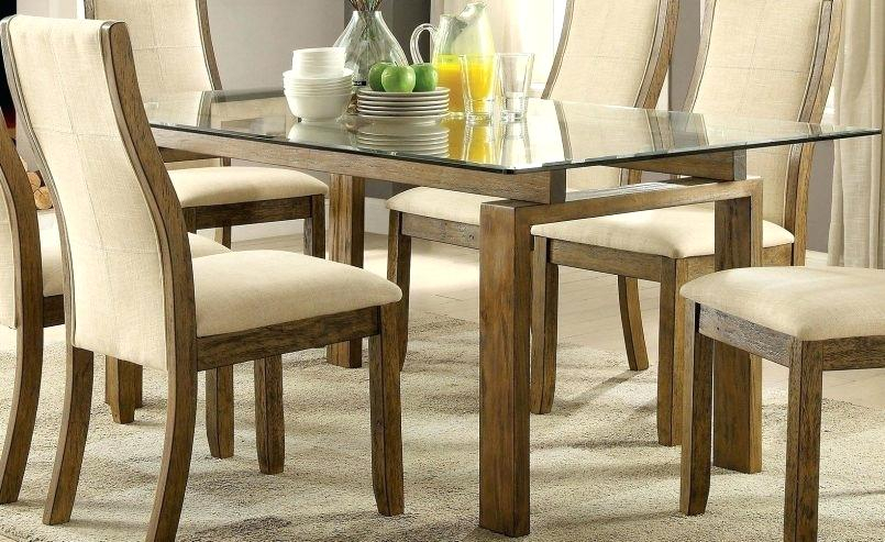 Rectangular Glass Dining Table With Wood Base – Otomientay Inside Rectangular Glass Top Dining Tables (View 4 of 25)