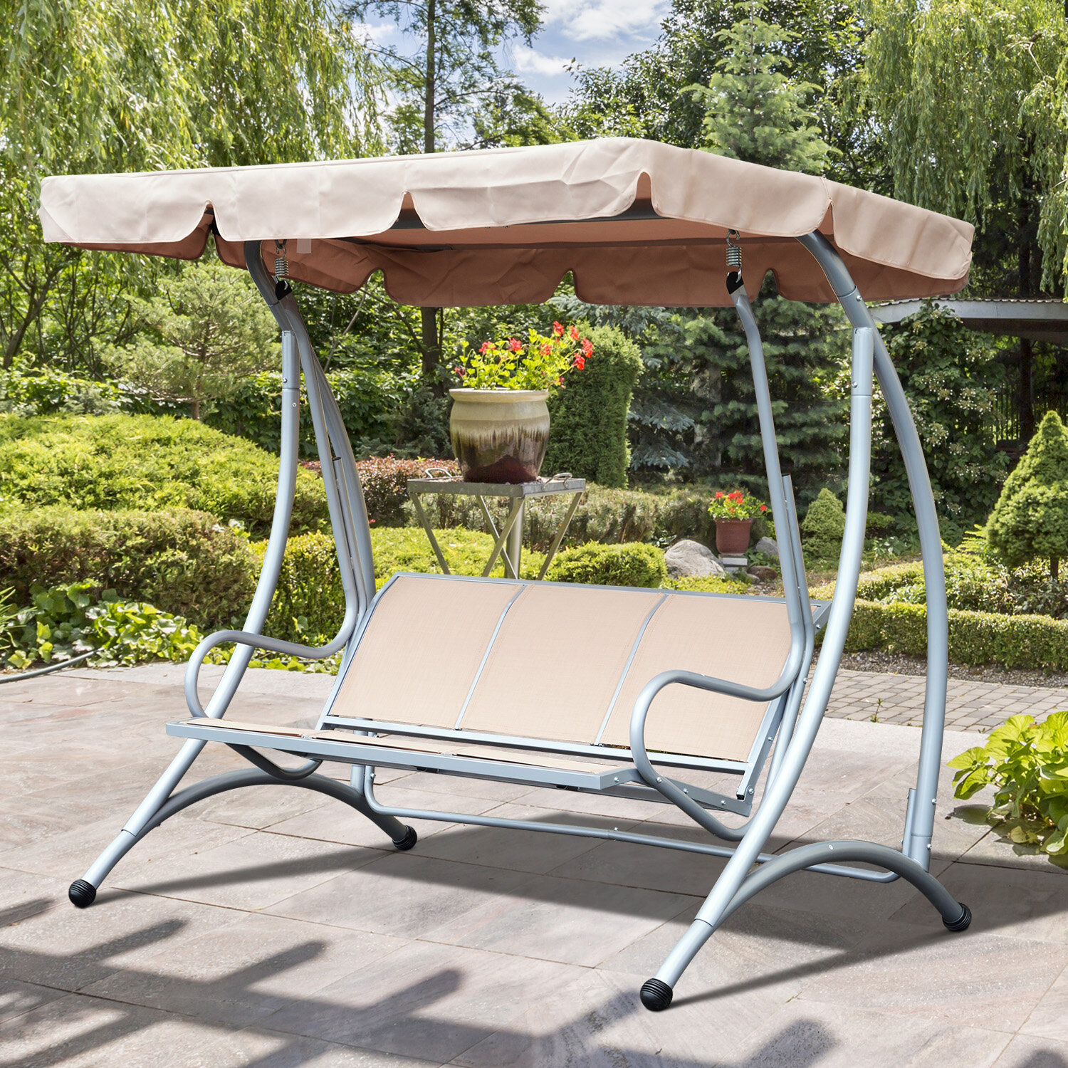 Red Barrel Studio Rosalie Porch Swing With Stand & Reviews With Regard To Outdoor Pvc Coated Polyester Porch Swings With Stand (View 7 of 25)