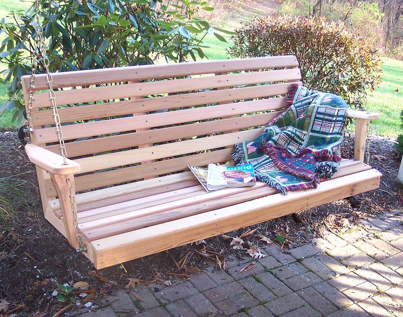 Red Cedar American Classic Porch Swing Pertaining To Classic Porch Swings (Image 18 of 25)
