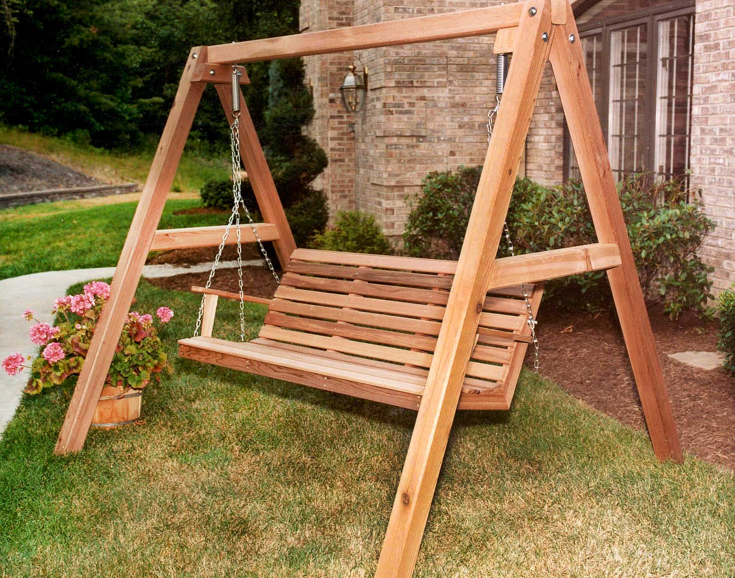 Red Cedar American Classic Porch Swing W/stand In Patio Porch Swings With Stand (View 14 of 25)