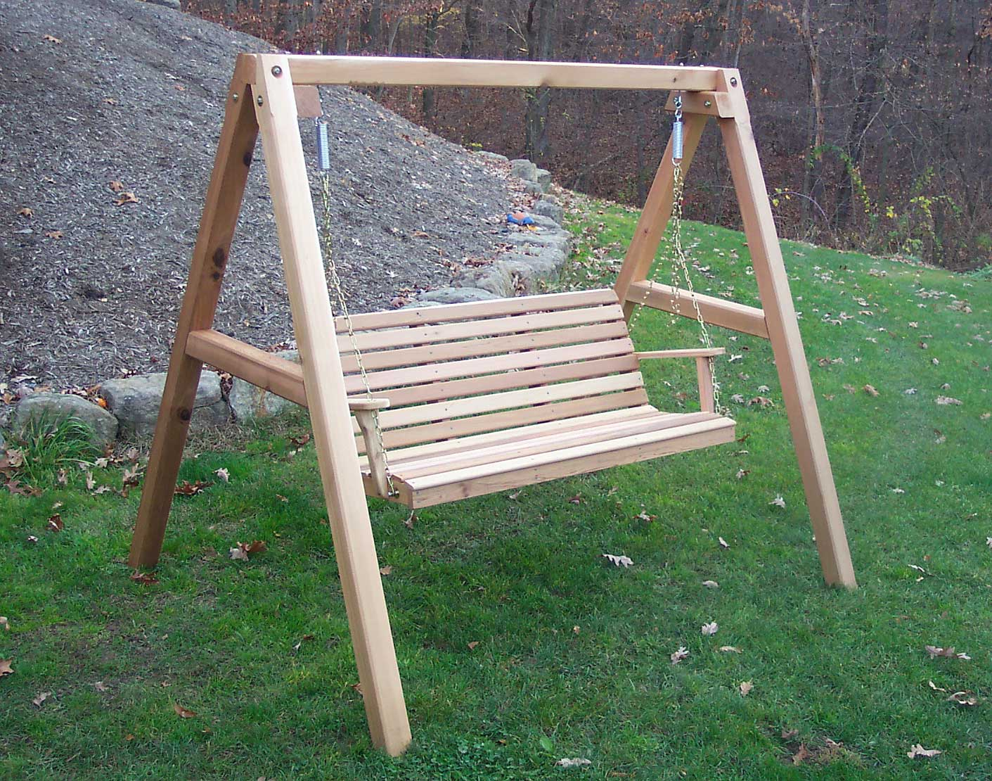 Red Cedar American Classic Porch Swing W/stand Pertaining To 5 Ft Cedar Swings With Springs (View 10 of 25)