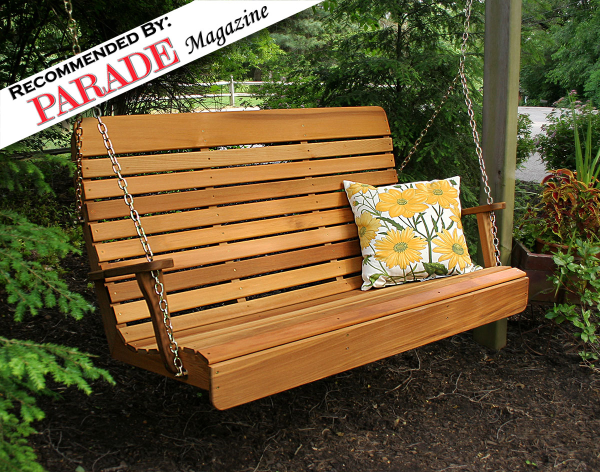 Red Cedar Royal Highback Porch Swing Regarding 3 Person Natural Cedar Wood Outdoor Swings (Image 22 of 25)