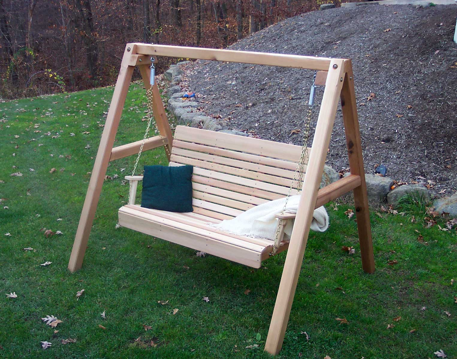 Red Cedar Royal Highback Porch Swing W/stand For Porch Swings With Stand (View 21 of 25)