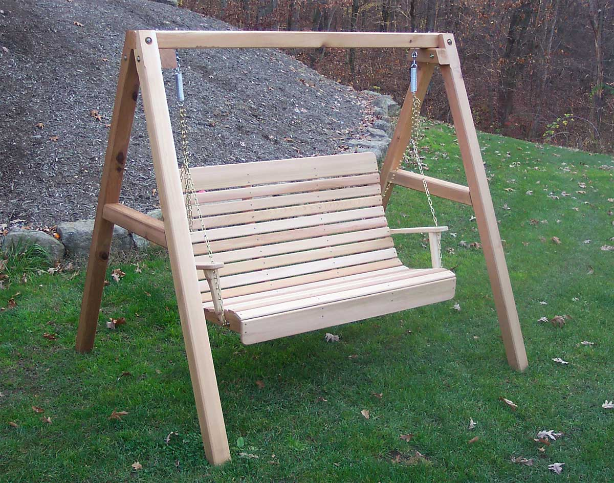 Red Cedar Royal Highback Porch Swing W/stand In Porch Swings With Stand (View 5 of 25)