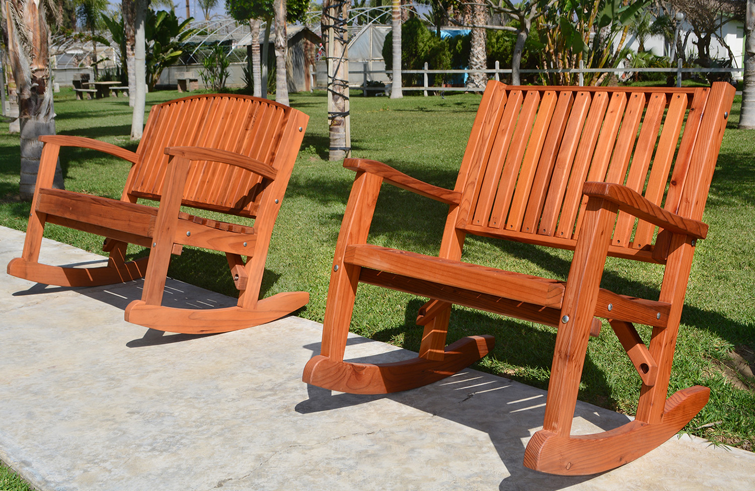 Redwood Outdoor Rocker, Hand Crafted Wooden Rocker With Regard To Rocking Benches With Cushions (View 4 of 25)