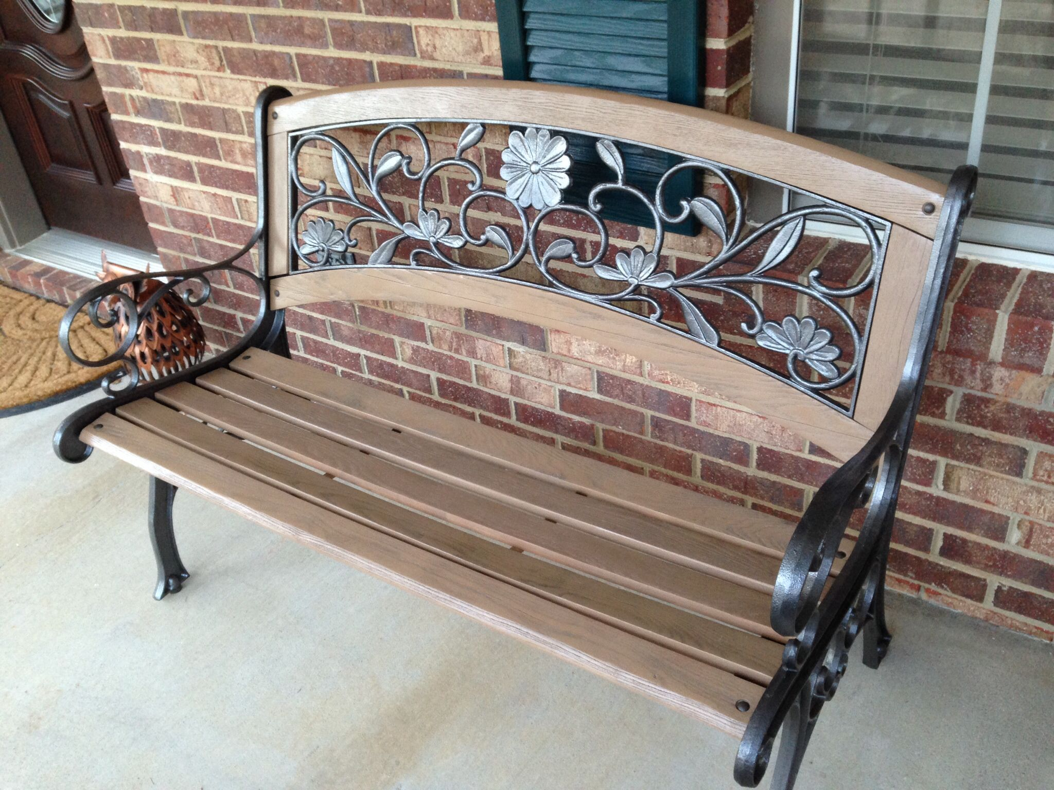 Refinished Bench. Wood Is Rustoleum Satin Nutmeg (View 15 of 25)
