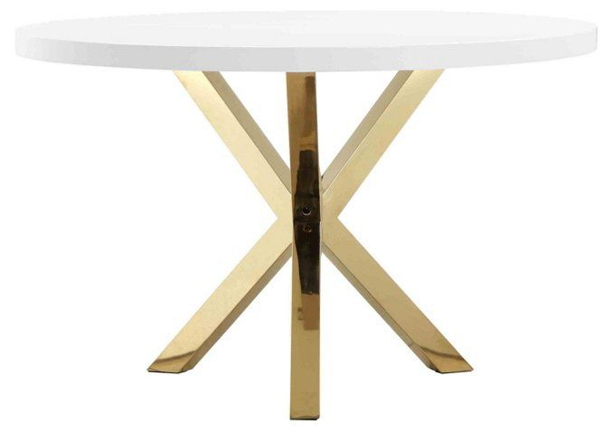 "Remi 47"" Round Dining Table – White/gold 