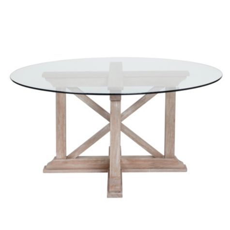 Rencourt Round Dining Table – White Wash W/glass Top From Z Throughout Glass Top Condo Dining Tables (View 8 of 25)