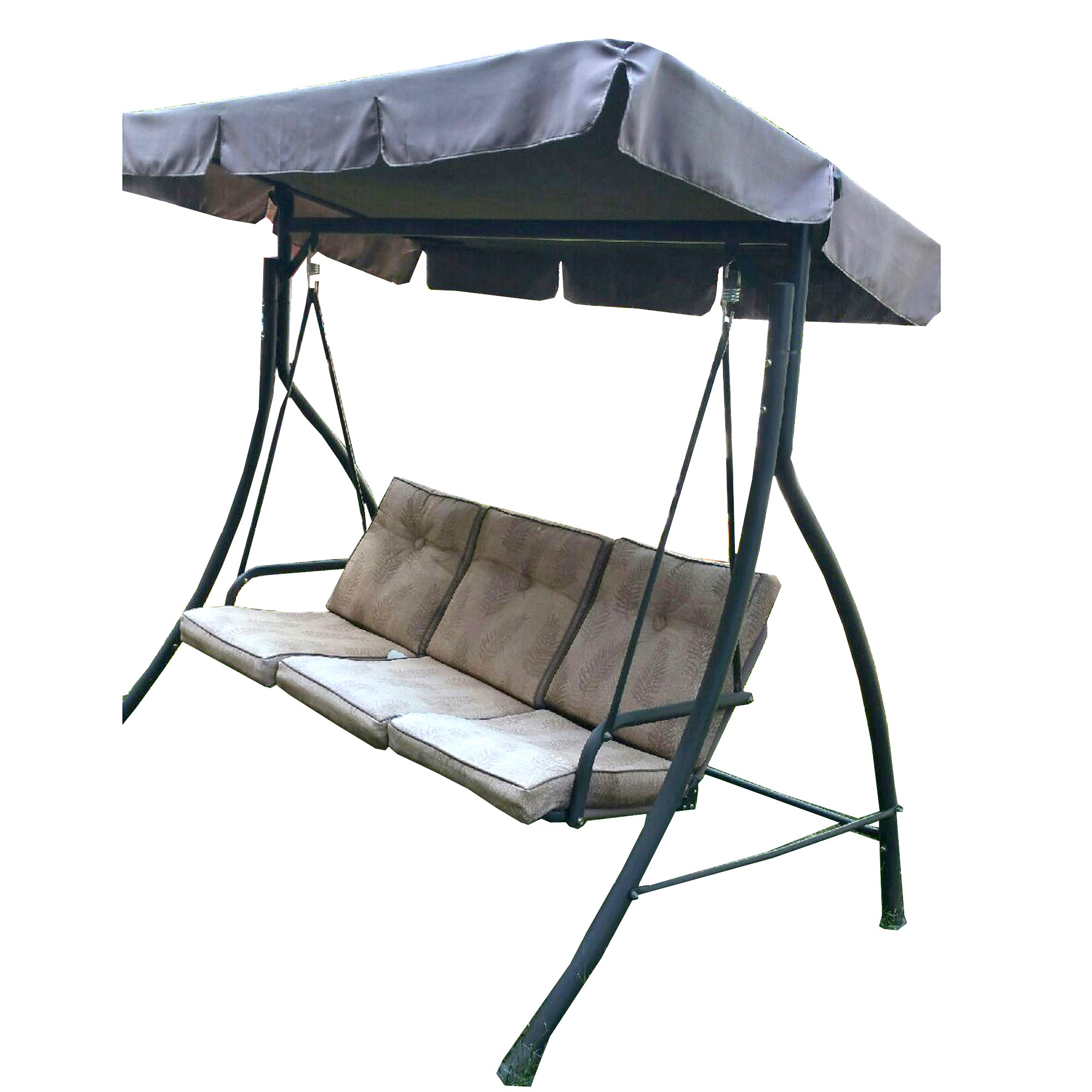 Replacement Canopy For Hd Flat Roof 3 Person Swing Garden Winds In 3 Person Brown Steel Outdoor Swings (View 19 of 25)