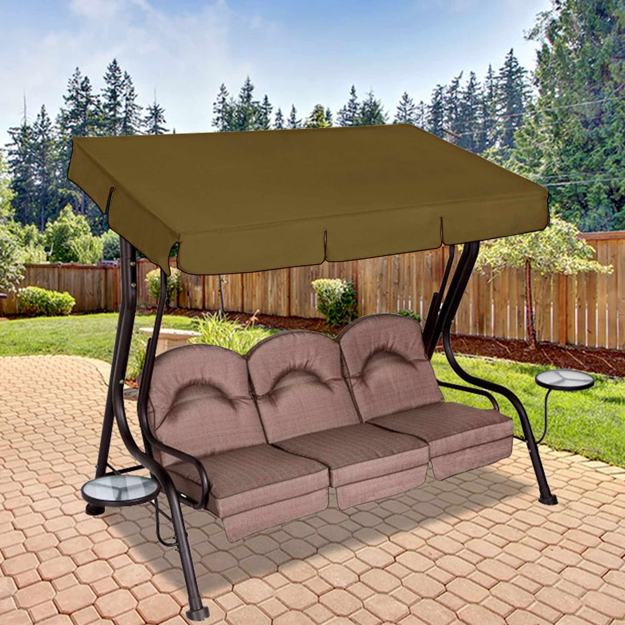 Replacement Canopy For Living Accents 3 Person Deluxe Swing For 3 Person Brown Steel Outdoor Swings (View 14 of 25)